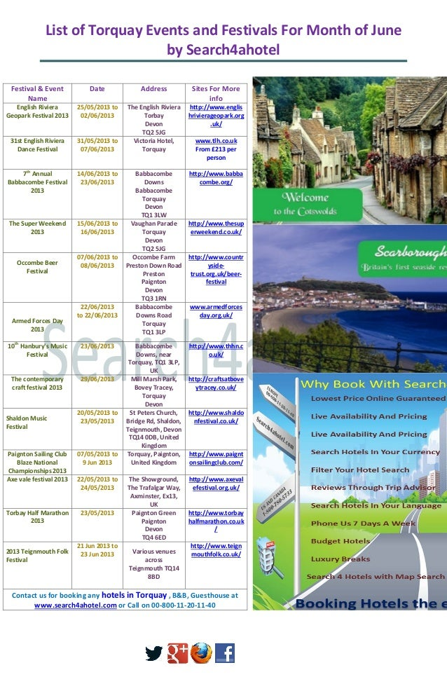List of Torquay Events and Festivals For Month of Juneby Search4ahotelFestival & EventNameDate Address Sites For Moreinfo0...