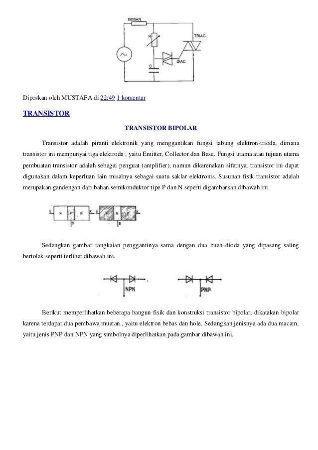 Bangun fisik dan konstruksi transistor bipolar Simbol transistor Kedua jenis PNP dan NPN tidak ada bedanya, kecuali hanya ...