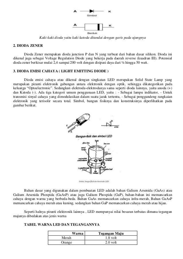 Kuning 2.1 volt Hijau 2.2 volt Sedangkan besar arus maju suatu LED standard adalah sekitar 20 mA. Karena dapat mengeluarka...