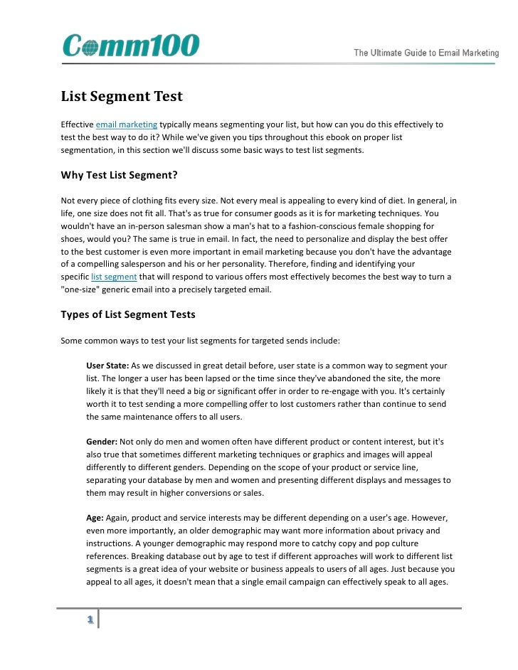 List Segment TestEffective email marketing typically means segmenting your list, but how can you do this effectively totes...