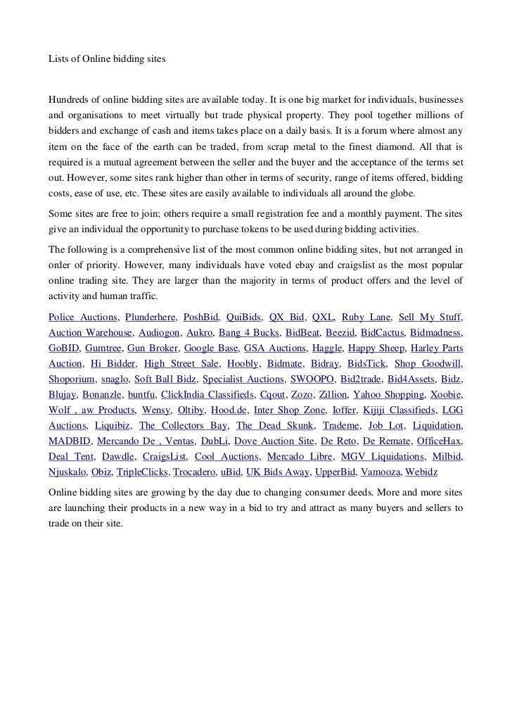 List of Online Bidding Sites