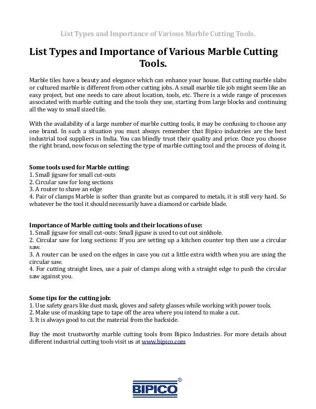 List Various Types Of Marble Cutting Tools And State Its