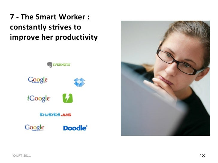 7 - The Smart Worker :constantly strives toimprove her productivityC4LPT, 2011                18