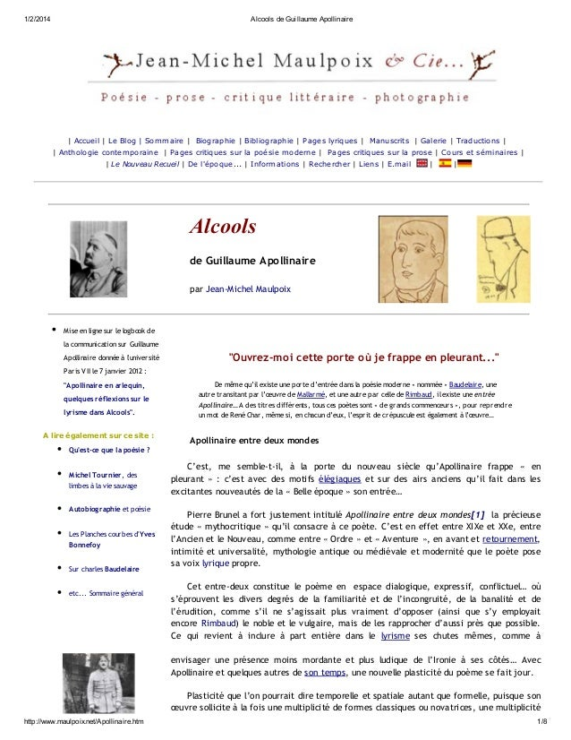 1/2/2014  Alcools de Guillaume Apollinaire  | Accue il | Le Blog | Som m aire | Biographie | Bibliographie | Page s lyriqu...