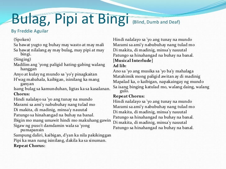 Bulag, Pipi At Bingi lyrics by Freddie Aguilar with ...