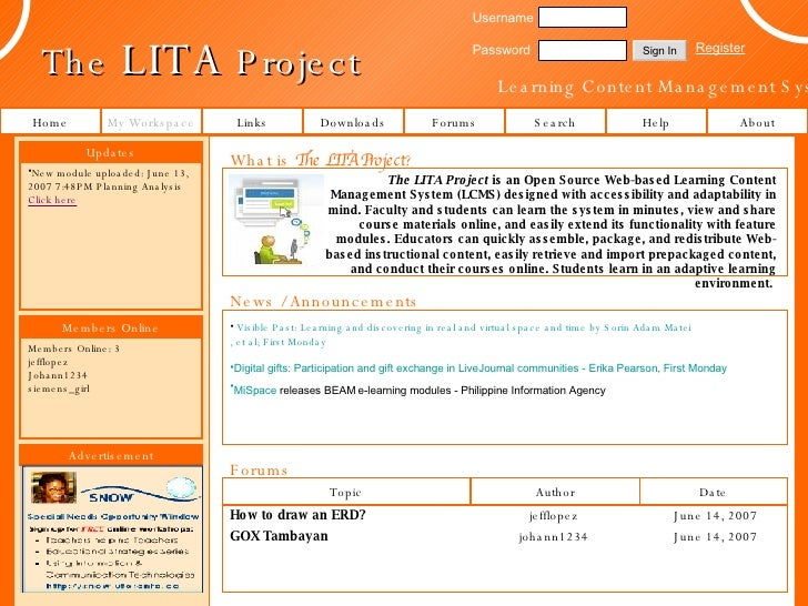 The  LITA  Project Learning Content Management System Links Forums Help About My Workspace Downloads Username Password Reg...