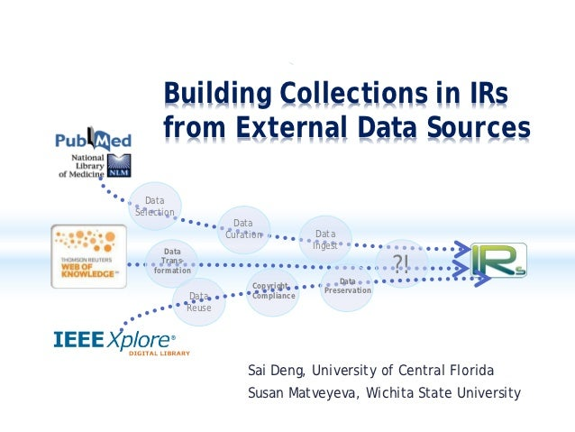 Building Collections in IRs      from External Data Sources  DataSelection                      Data                    Cu...