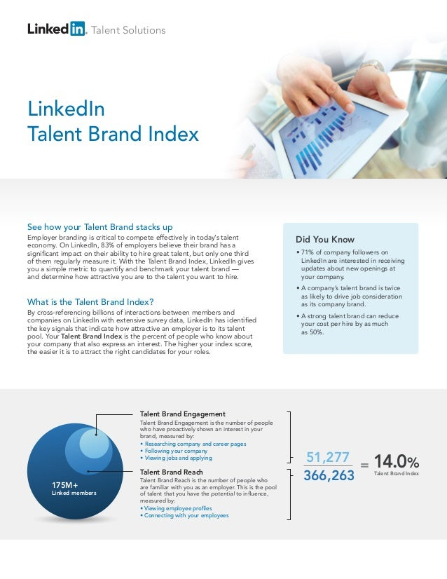 Talent SolutionsLinkedInTalent Brand IndexSee how your Talent Brand stacks upEmployer branding is critical to compete effe...