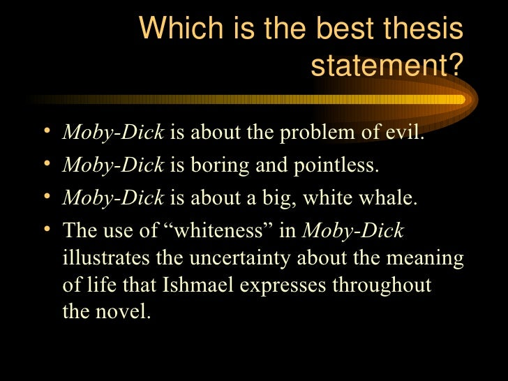 Thesis statment for moby dick