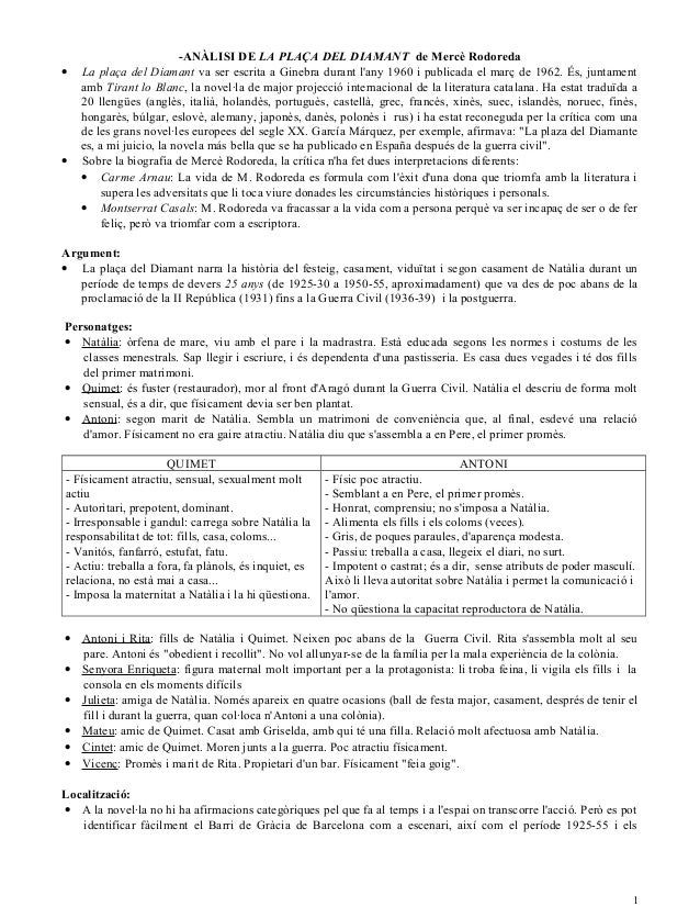 -ANÀLISI DE LA PLAÇA DEL DIAMANT de Mercè Rodoreda • La plaça del Diamant va ser escrita a Ginebra durant l'any 1960 i pub...