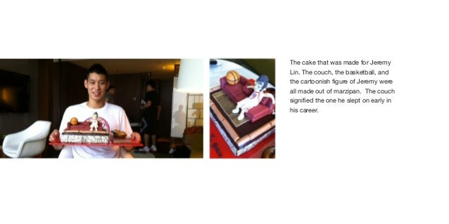 The cake that was made for JeremyLin. The couch, the basketball, andthe cartoonish figure of Jeremy wereall made out of ma...