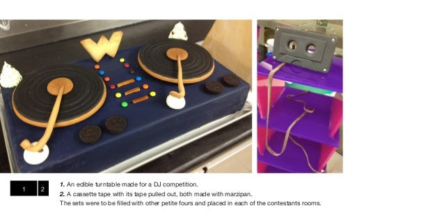 1. An edible turntable made for a DJ competition.1   2        2. A cassette tape with its tape pulled out, both made with ...