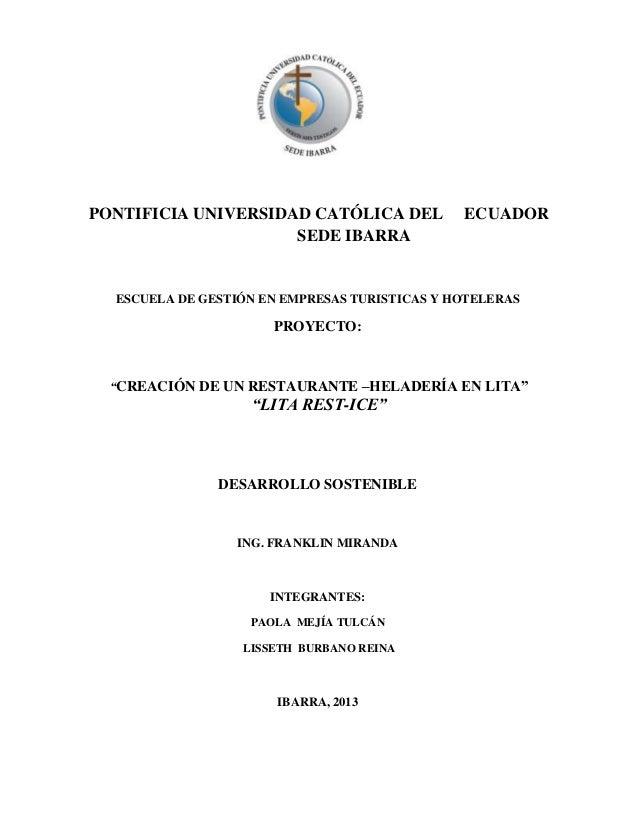 PONTIFICIA UNIVERSIDAD CATÓLICA DEL            ECUADOR                     SEDE IBARRA  ESCUELA DE GESTIÓN EN EMPRESAS TUR...