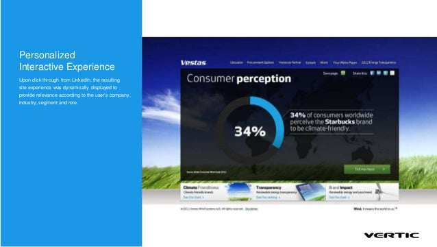 PersonalizedInteractive ExperienceUpon click through from LinkedIn, the resultingsite experience was dynamically displayed...