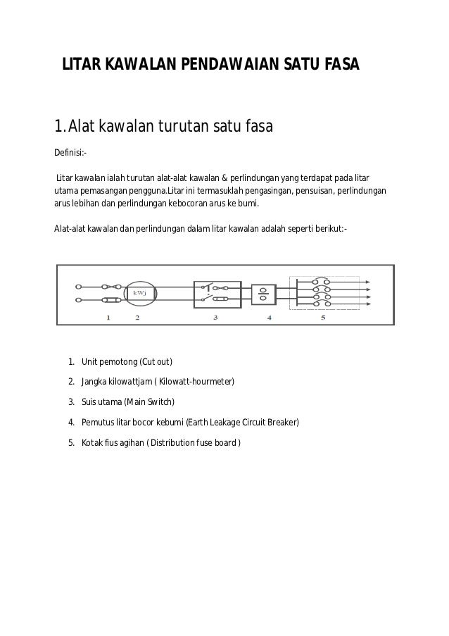 LITAR KAWALAN PENDAWAIAN SATU FASA1. Alat kawalan turutan satu fasaDefinisi:-Litar kawalan ialah turutan alat-alat kawalan...