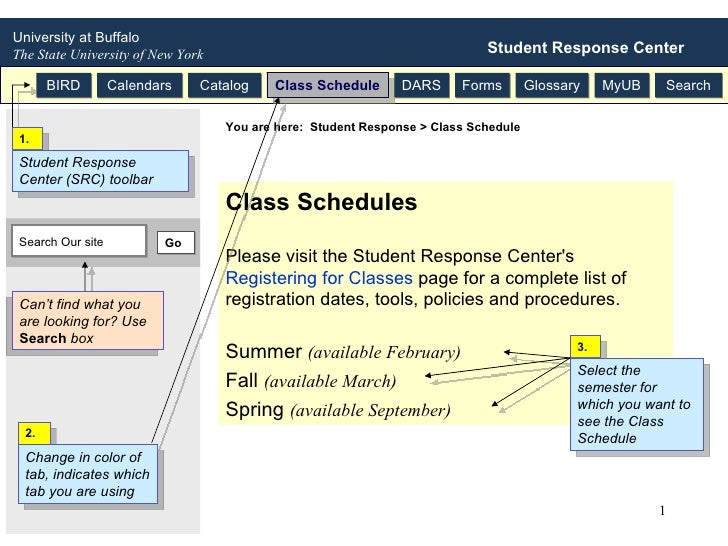 Class Schedules Please visit the Student Response Center's  Registering for Classes  page for a complete list of registrat...