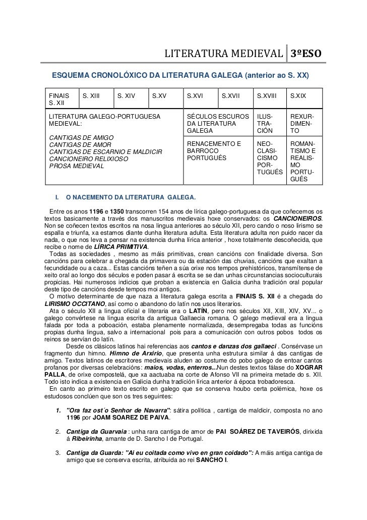 LITERATURA MEDIEVAL 3ºESO  ESQUEMA CRONOLÓXICO DA LITERATURA GALEGA (anterior ao S. XX) FINAIS       S. XIII      S. XIV  ...