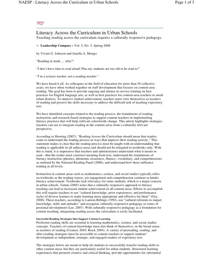 NAESP : Literacy Across the Curriculum in Urban Schools                                                      Page 1 of 3  ...