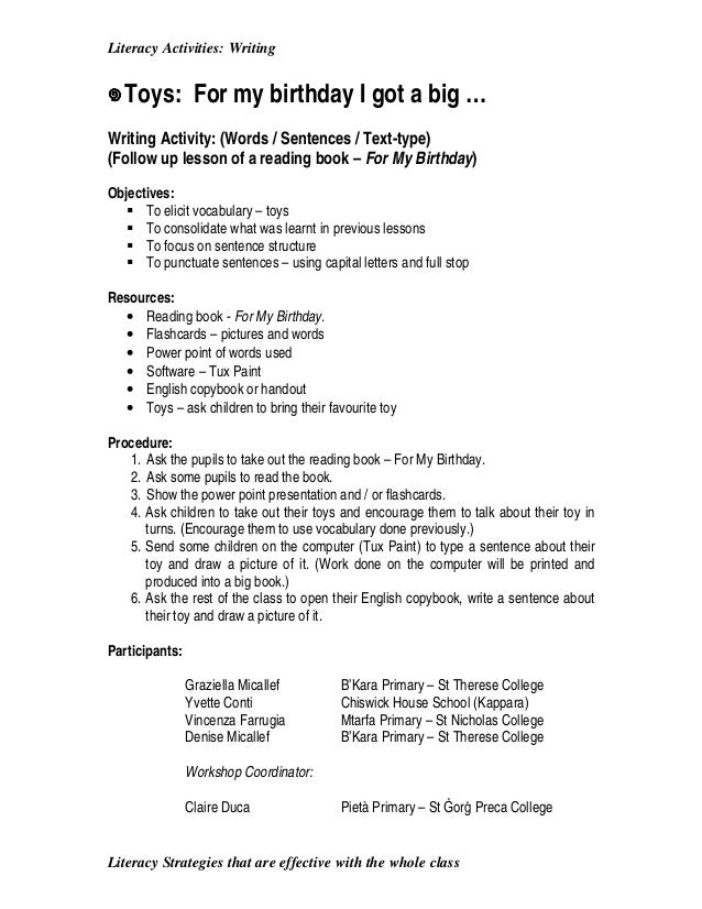 literacy activities writing literacy strategies that are effective