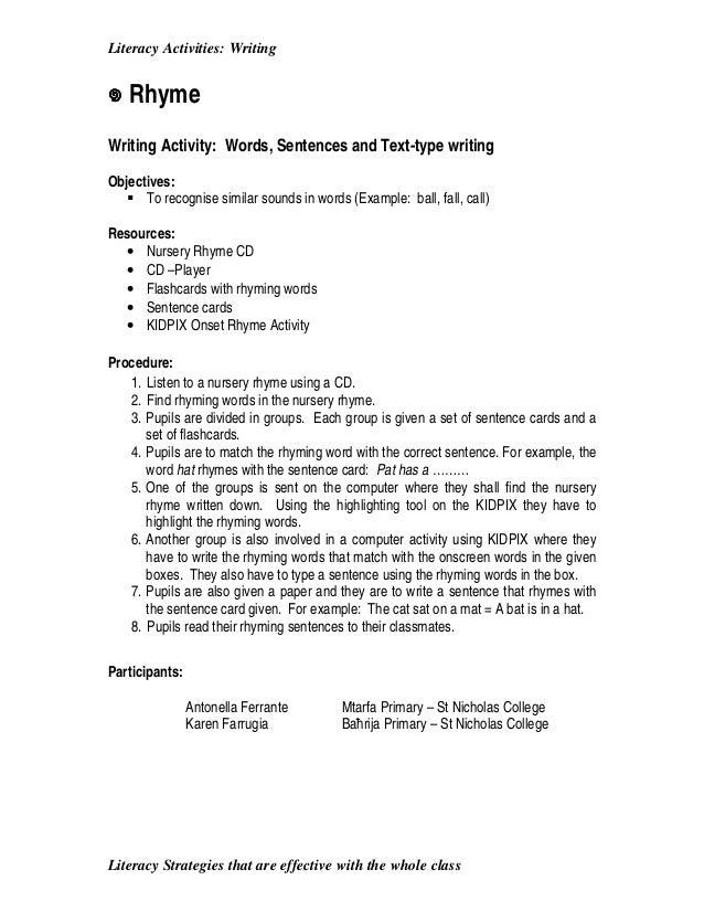 Worksheets Example Of Rhyming Words In Sentence literacy activities 1 2 3 writing