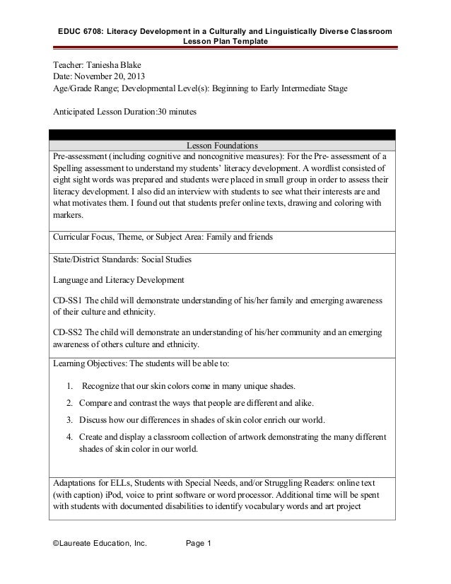 Literacy Development Lesson - Lesson plan template for special needs students