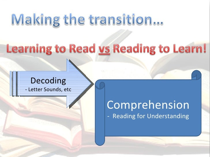 Decoding - Letter Sounds, etc Comprehension -  Reading for Understanding