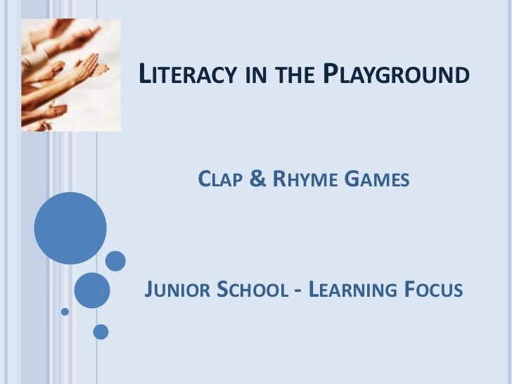 Literacy in the Playground<br />Clap & Rhyme Games<br />Junior School -Learning Focus<br />1<br />