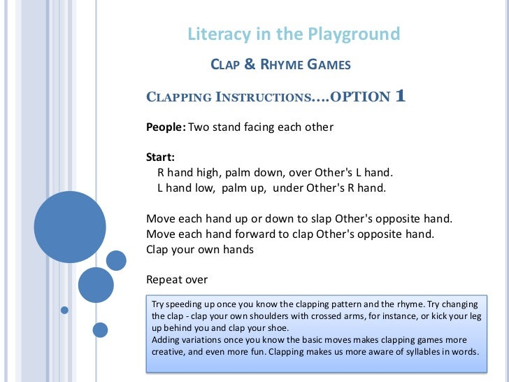 Literacy In The Playground Clapping Games 2011 I can make your hands clap. playground clapping games 2011