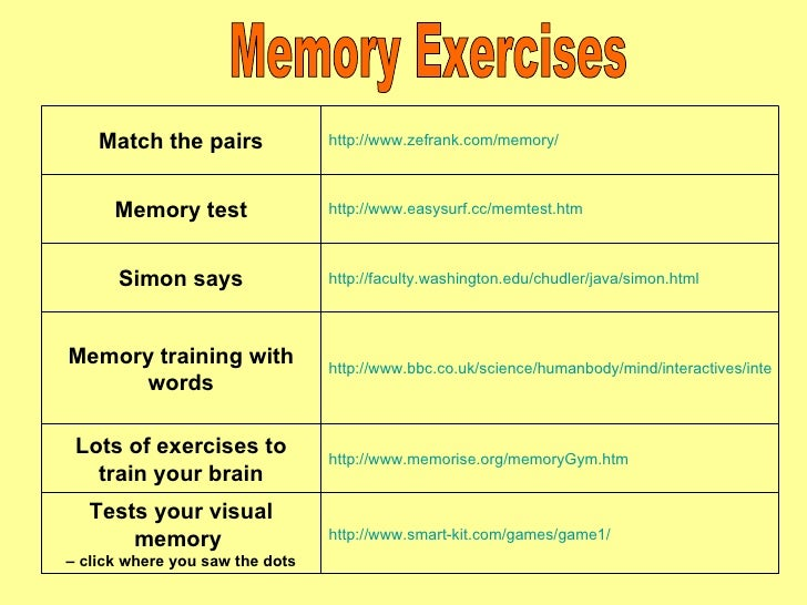 Literacy Amp Memory Exercises