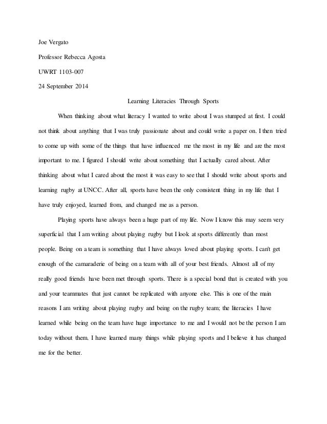 Student Reflection: Literacy Narrative