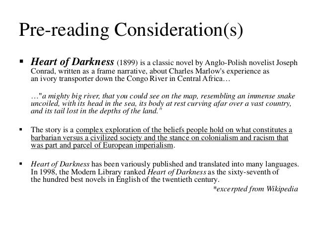 postcolonial reading of heart of darkness Conrad's heart of darkness, which was generally read as a part of modern  literature is  postcolonial ideas from edward said's culture and imperialism ( 1994.