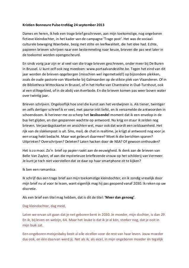 Kristien  Bonneure  Pulse-‐trefdag  24  september  2013     Dames  en  heren,  ik  heb  een  tr...
