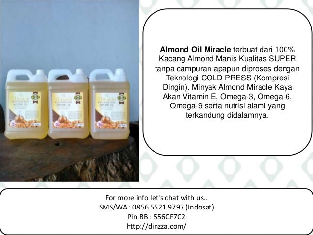 For more info let's chat with us.. SMS/WA : 0856 5521 9797 (Indosat) Pin BB : 556CF7C2 http://dinzza.com/ Almond Oil Mirac...