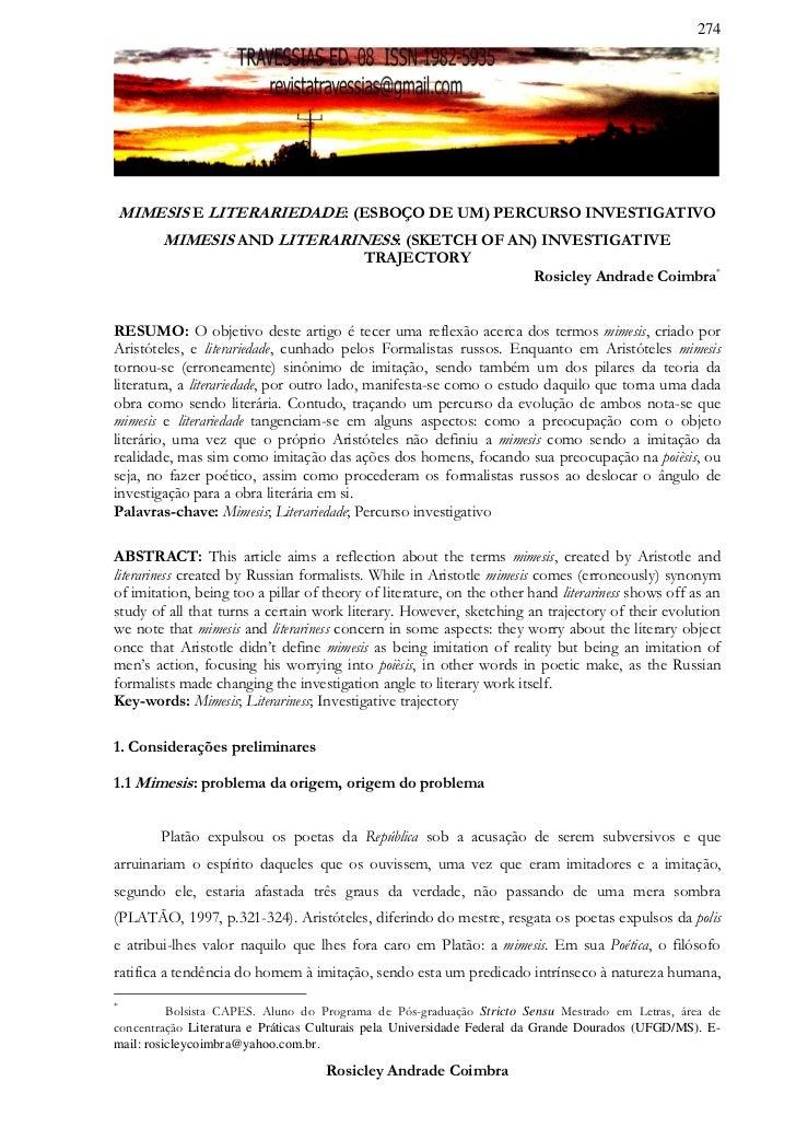 274    MIMESIS E LITERARIEDADE: (ESBOÇO DE UM) PERCURSO INVESTIGATIVO        MIMESIS AND LITERARINESS: (SKETCH OF AN) INVE...