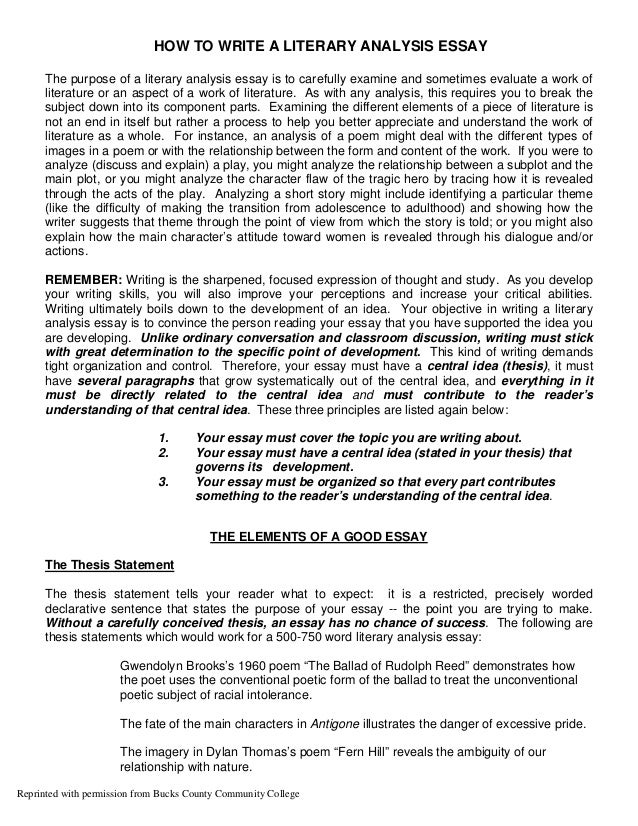 sample literary analysis essay college