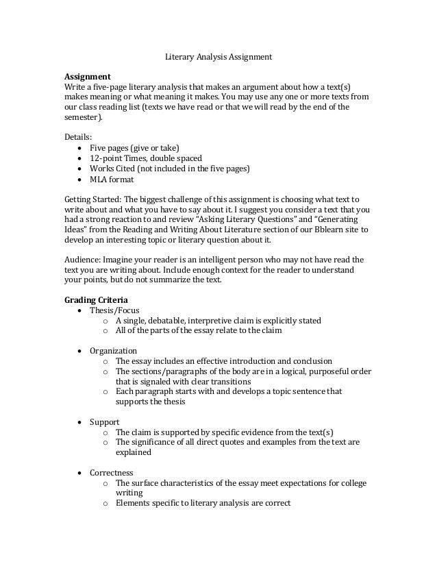 Eng 342 Literary Analysis Assignment
