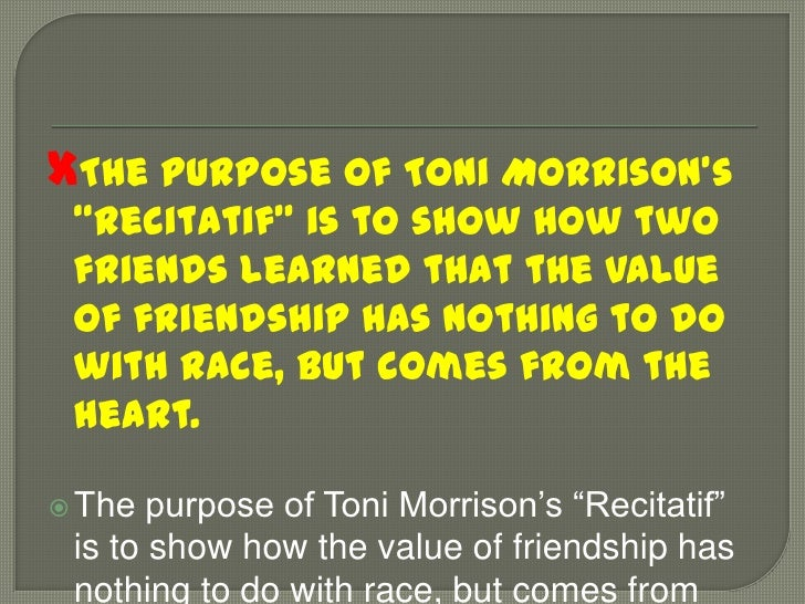 a critical analysis of recitatif by toni morrison Plot overview and analysis written by an experienced literary critic  this one-page guide includes a plot summary and brief analysis of recitatif by toni morrison.