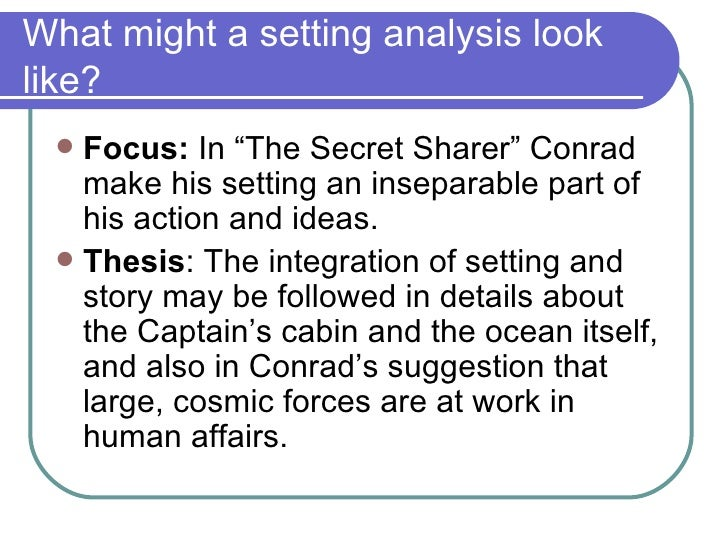 an analysis of the themes in the secret sharer by joseph conrad The secret sharer is a short story by polish-british author joseph conrad,  originally written in  the story has a theme seen in some other conrad stories ( lord jim, nostromo) of the hero facing a decision and drifting into the one which  is.