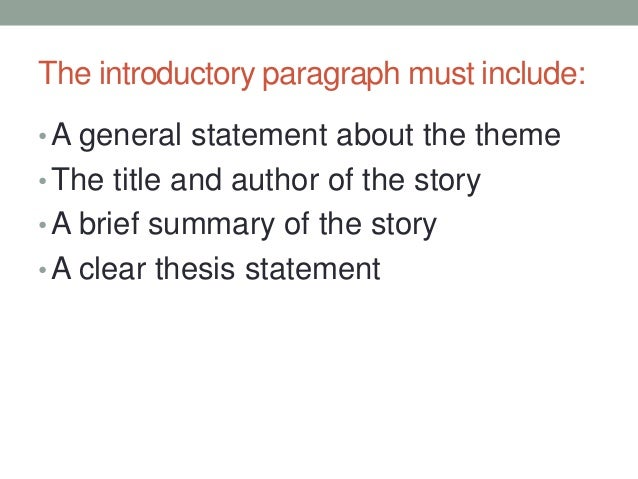 D. Introductory Paragraph
