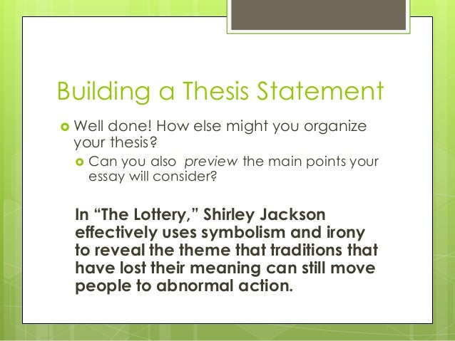 thesis outline the lottery