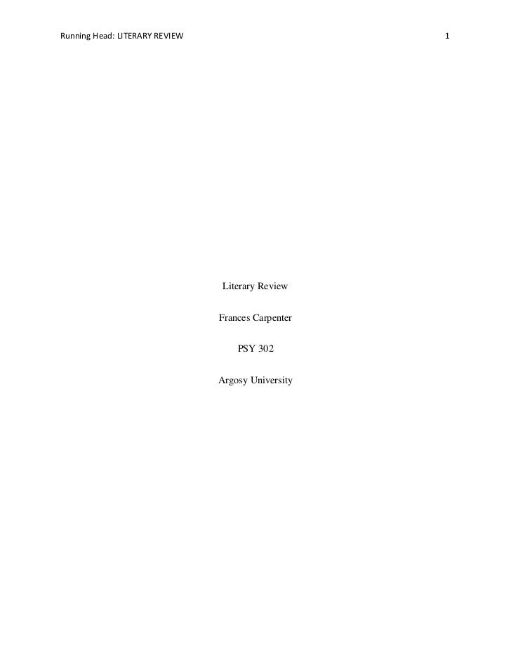 Running Head: LITERARY REVIEW                       1                                 Literary Review                     ...