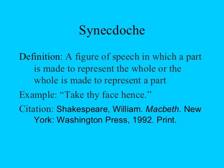 what is synecdoche in literature