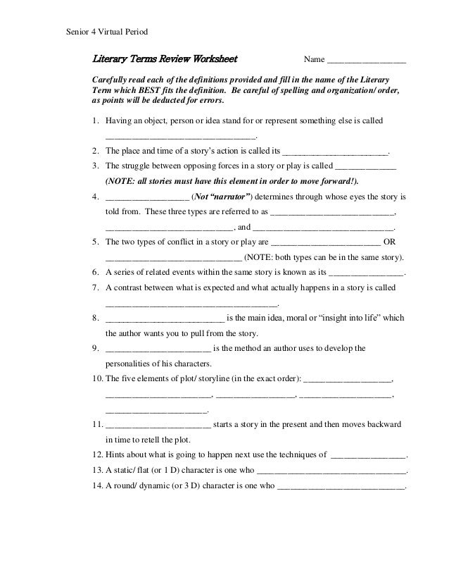 4 Words And Definitions Worksheets : Literary terms review senior