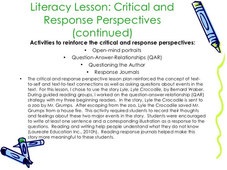 lesson plan critical and response perspectives Lesson plan resources  analyzing perspective teaching strategy/extended thinking  the lesson, describe an event/place, explain important/main.