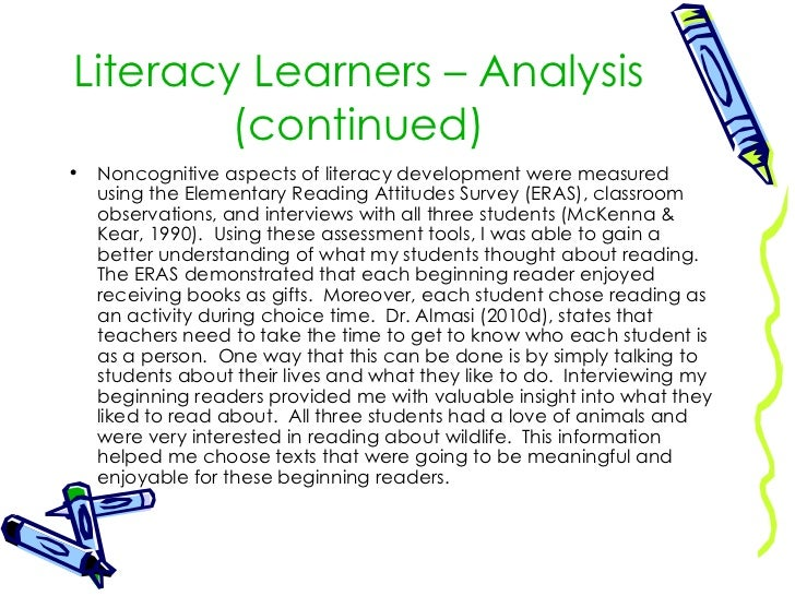literate environment analysis Literate environment analysis sara jo manzo dr abigayle barton the beginning reader, pre k-3 (educ - 6706g - 9) october 20, 2012.