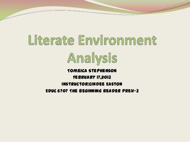 Tomeica Stephenson            February 17,2013       Instructor:Cindee EastonEDUC 6707 The Beginning Reader Prek-3