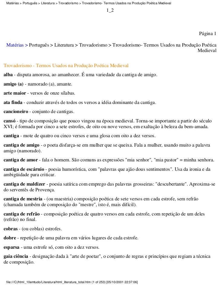 Matérias > Português > Literatura > Trovadorismo > Trovadorismo- Termos Usados na Produção Poética Medieval               ...