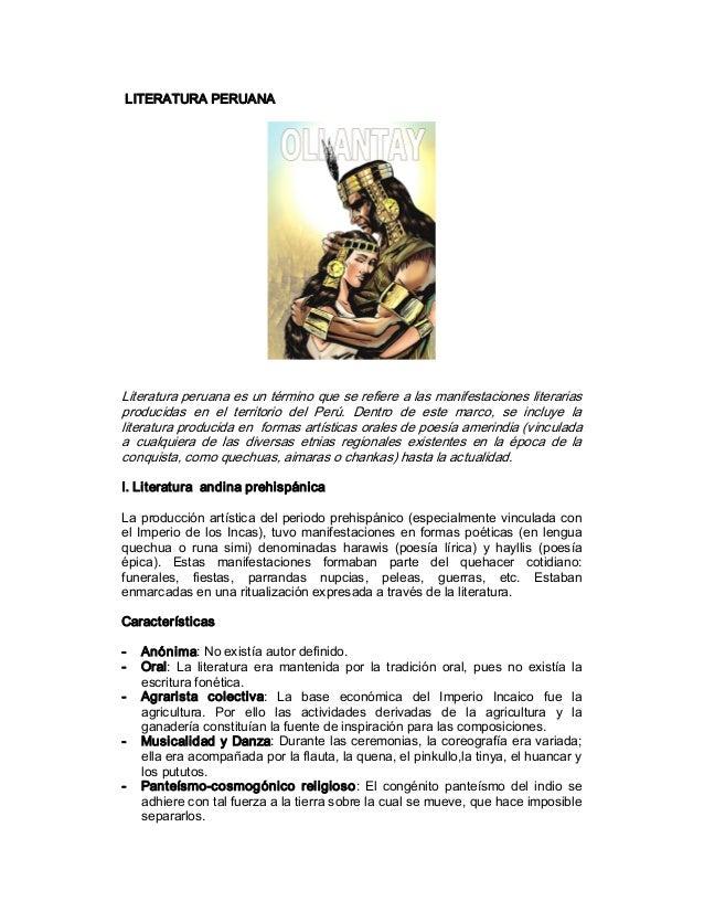 LITERATURAPERUANA Literaturaperuanaesuntérminoqueserefierealasmanifestacionesliterarias producidas en el ...