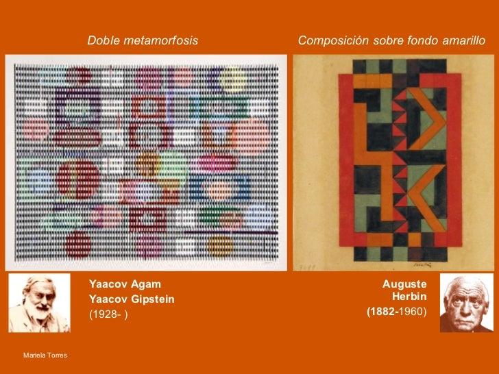 Doble metamorfosis   Composición sobre fondo amarillo Yaacov Agam Yaacov Gipstein (1928- )   Auguste Herbin (1882- 1960) M...