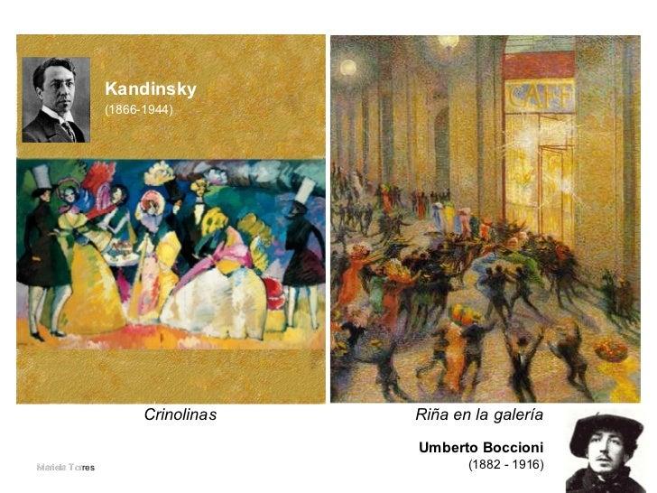 Riña en la galería   Umberto Boccioni   (1882 - 1916)   Crinolinas Mariela Tor Kandinsky (1866-1944)